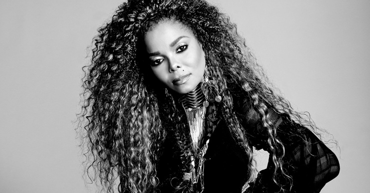 Black and white image of Janet Jackson